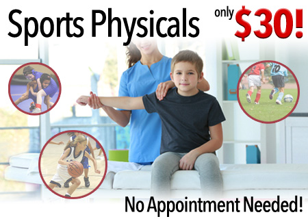 Sports physicals for only $30 with no appointment needed!